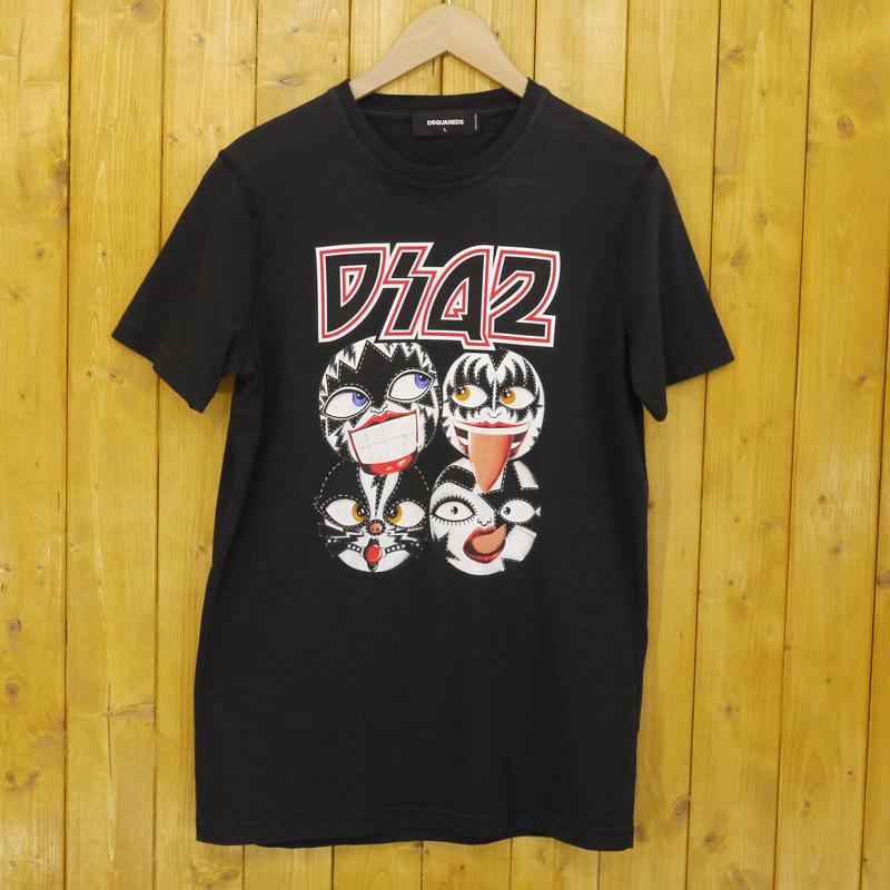 【中古】Dsquared2/ディースクエアード 半袖Tシャツ サイズ:L カラー:ブラック【f102】