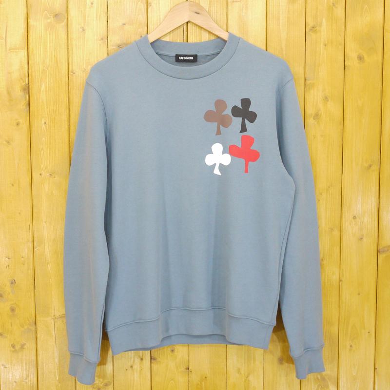 【中古】RAF SIMONS/ラフシモンズ Sweatshirt cut-out print クローバースウェット サイズ:S カラー:ブルー系【f108】