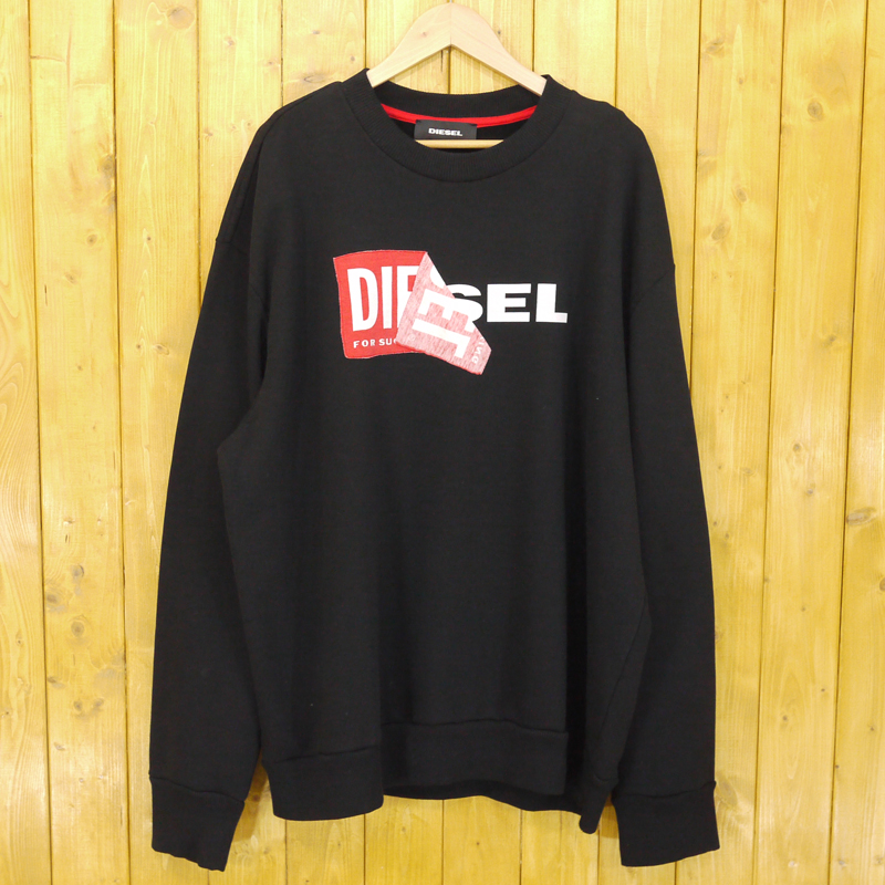 【中古】DIESEL/ディーゼル S-SAMY ロゴスウェット サイズ:XL カラー:ブラック【f102】
