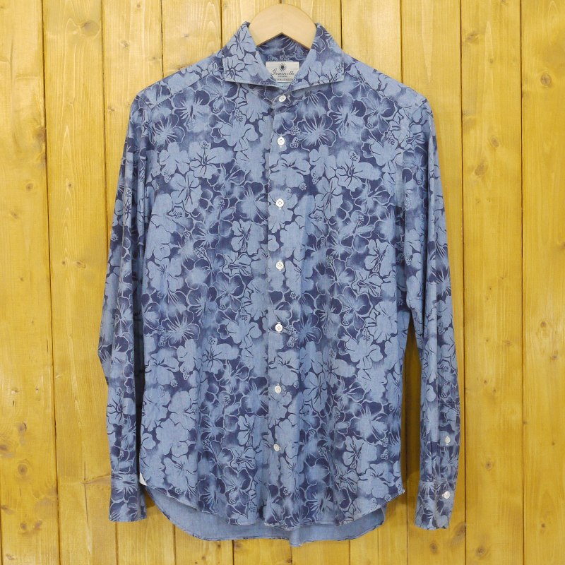 【中古】Giannetta/ジャンネット 花柄長袖シャツ サイズ:40 カラー:ブルー【f102】