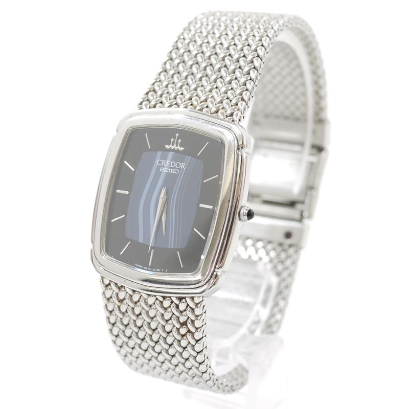 【中古】SEIKO/セイコー 腕時計 クレドール 5A74-3D30 クオーツ カラー:ブラック/ブルー×シルバー【f131】