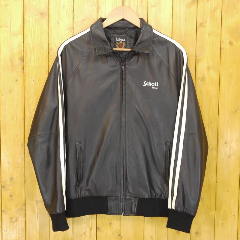 【中古】Schott/ショット ラムレザートラックジャケット サイズ:L カラー:ブラック【f093】