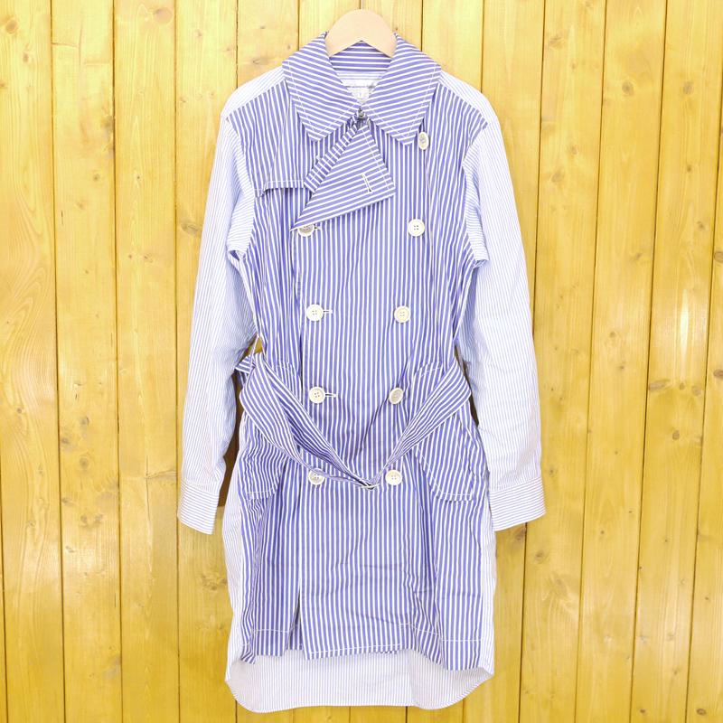 【中古】COMME des GARCONS SHIRT/コムデギャルソンシャツ ストライプトレンチコート シャツコート サイズ:S カラー:ブルー【f108】