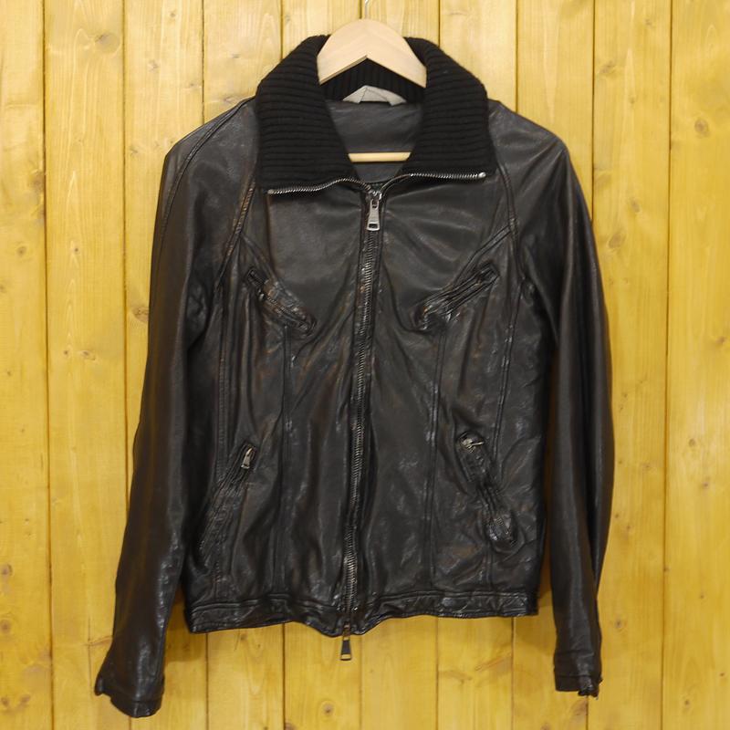 【中古】GIORGIO BRATO/ジョルジオブラット レザージャケット サイズ:44 カラー:ブラック【f094】