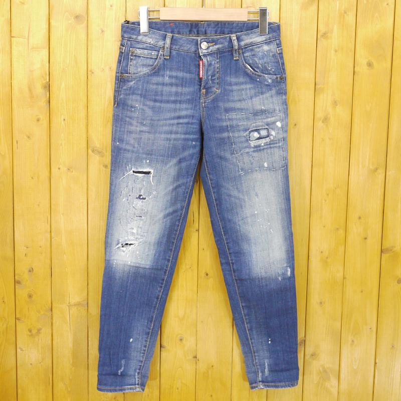 【中古】DSQUARED2/ディースクエアード Hockney jeans ウォッシュ加工ボーイフレンドジーンズ ストレッチデニムパンツ サイズ:34 カラー:ブルー【f112】