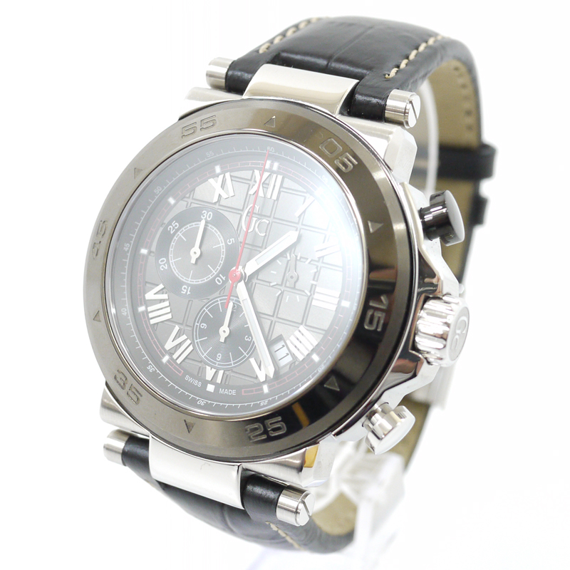 【中古】Gc/ジーシー 腕時計 Gc-1 Class GUESS COLLECTION ゲスコレクション X90004G5S クォーツ 革(レザー)ベルト カラー:グレー系×ブラック【f131】