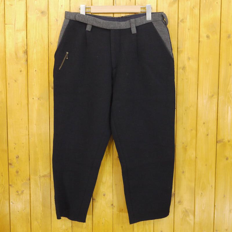 【期間限定】ポイント20倍【中古】tim./ティム 2014AW woosted wool 1tuck tapered pants ウーステッドウール1タックテーパードパンツ サイズ:2 カラー:ネイビー(black navy)【f107】