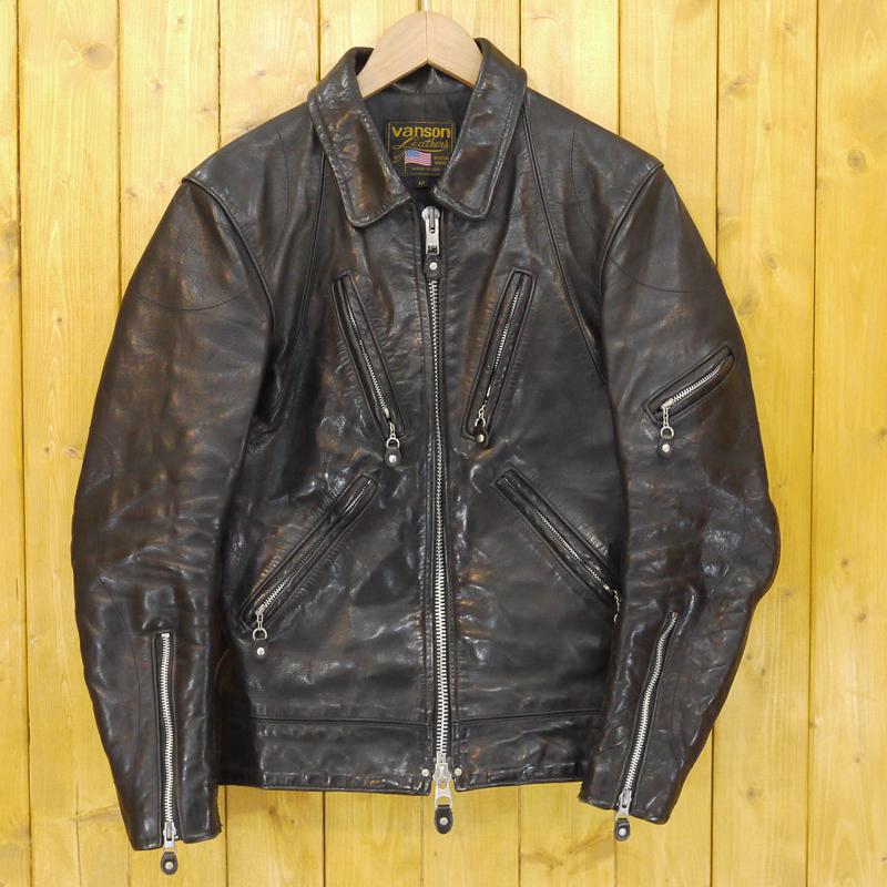 【中古】VANSON/ヴァンソン レザージャケット サイズ:M カラー:ブラック【f093】