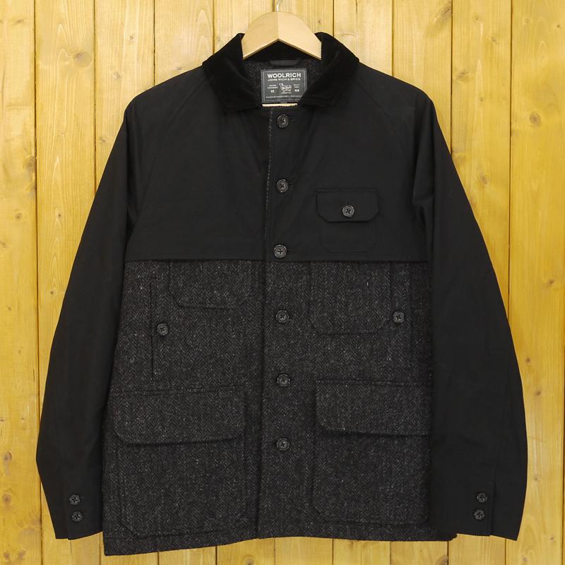 【中古】WOOLRICH/ウールリッチ 切替 ウールジャケット サイズ:M カラー:ブラック×グレー【f091】