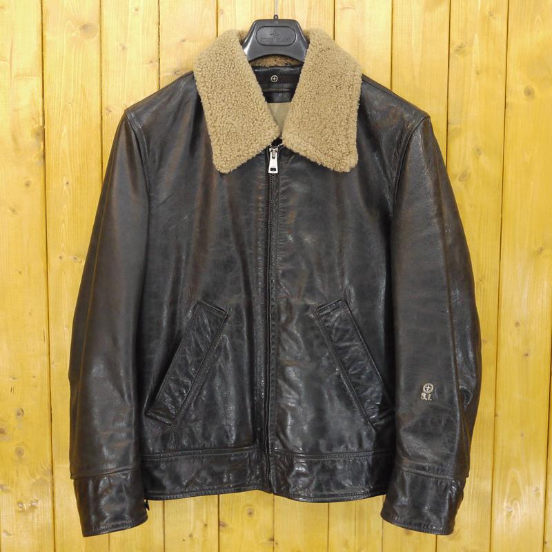 【中古】STONE ISLAND/ストーンアイランド 襟ボア レザージャケット サイズ:L カラー:ブラック【f094】