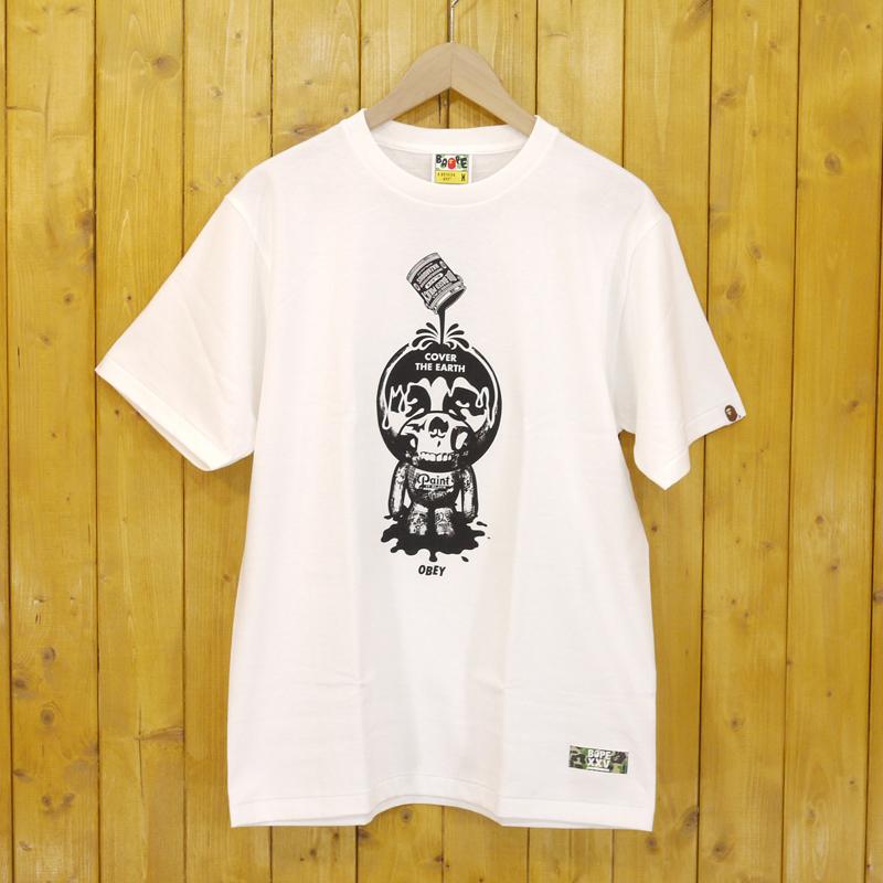 【中古】A BATHING APE×OBEY/アベイシングエイプ×オベイ 半袖Tシャツ サイズ:M カラー:ホワイト【f103】