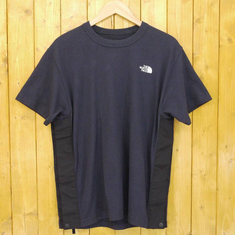【中古】THE NORTH FACE×sacai/ノースフェイス×サカイ Tシャツ サイドジップ サイズ:S カラー:ネイビー【f104】