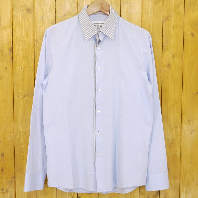 【中古】Maison Margiela/メゾン・マルジェラ 長袖シャツ スタンドカラーシャツ サイズ:46 カラー:ブルー【f108】