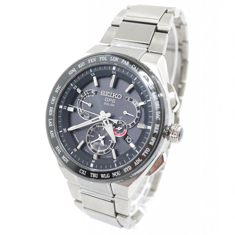 【中古】SEIKO/セイコー 腕時計 ASTRON EXECTIVE LINE アストロン エグゼクティブライン 8Xシリーズ デュアルタイム SBXB123 ソーラーGPS衛星電波修正 チタンベルト カラー:ブラック×シルバー【f131】