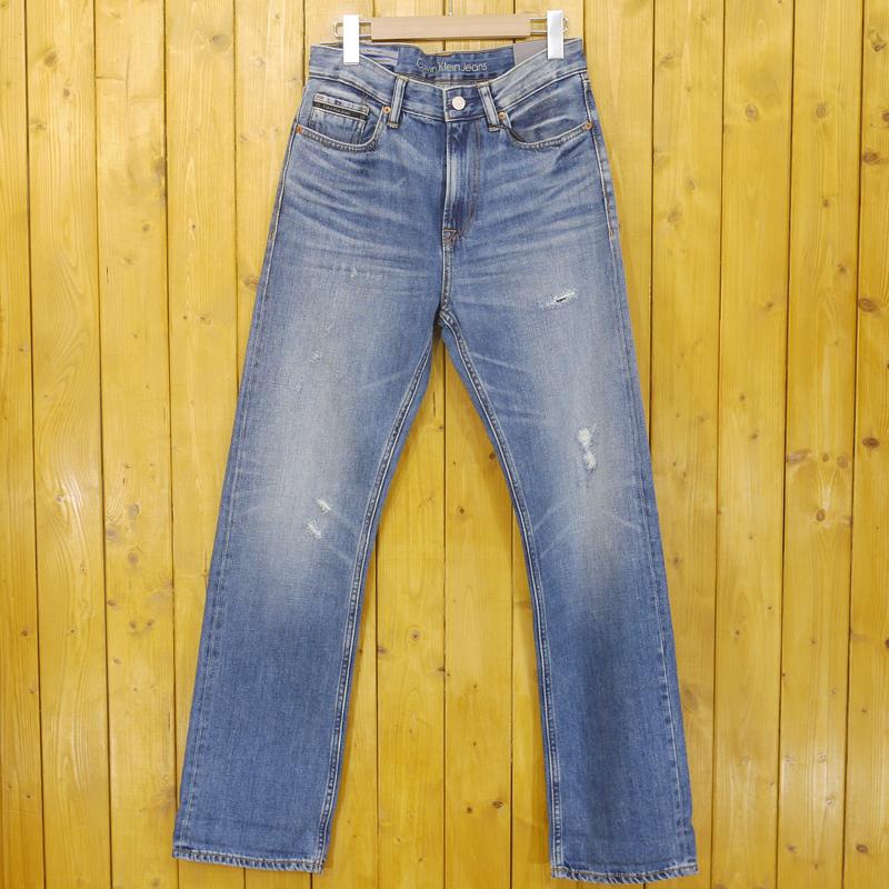【中古】Calvin Klein Jeans/カルヴァンクラインジーンズ HIGH STRAIGHT ダメージ加工 ジップフライデニムパンツ サイズ:29 カラー:ブルー【f107】