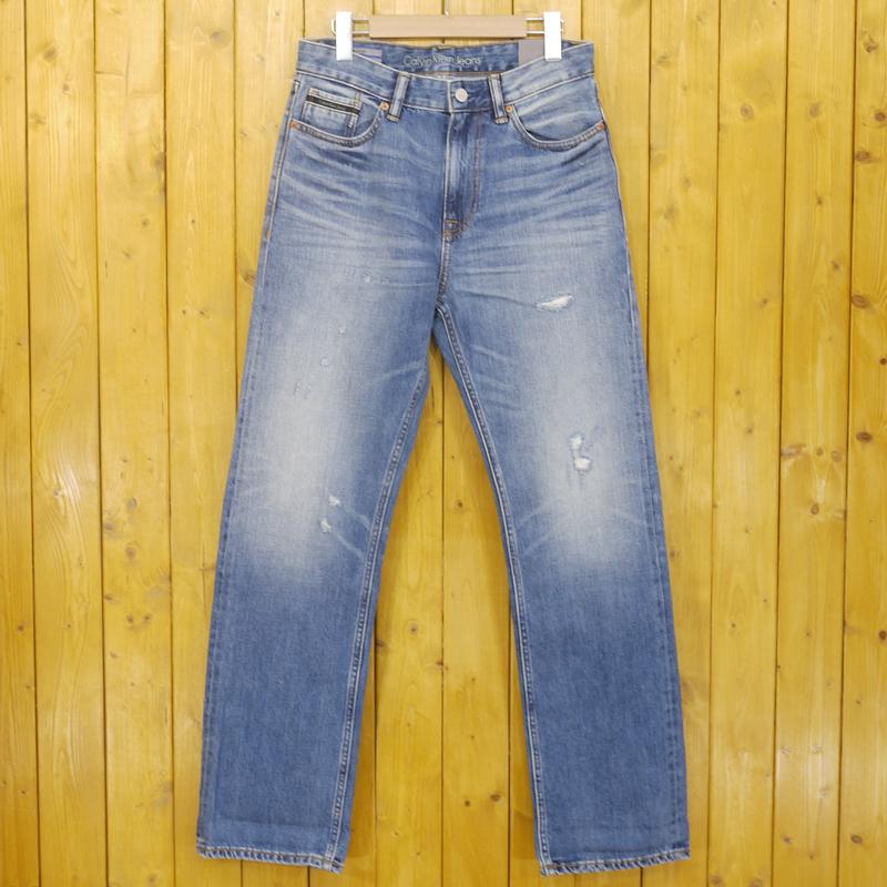 【中古】Calvin Klein Jeans/カルヴァンクラインジーンズ HIGH STRAIGHT ダメージ加工 ジップフライデニムパンツ サイズ:30 カラー:ブルー【f107】