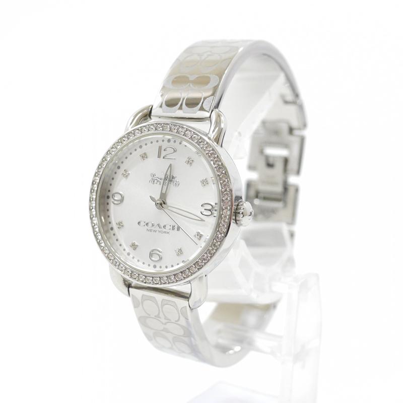 【中古】COACH/コーチ 腕時計 バングルウォッチ DELANCEY デランシー 14502353 クォーツ ステンレススティールベルト カラー:シルバー【f131】