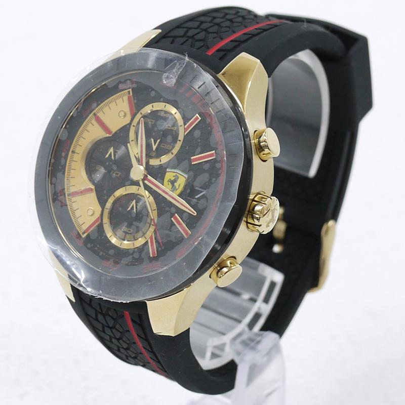 【中古】Ferrari/フェラーリ 腕時計 アナログクォーツ Red Rev Evo Chronograph 0830298 サイズ:- カラー:文字盤:ブラックベルト:ブラック【f131】