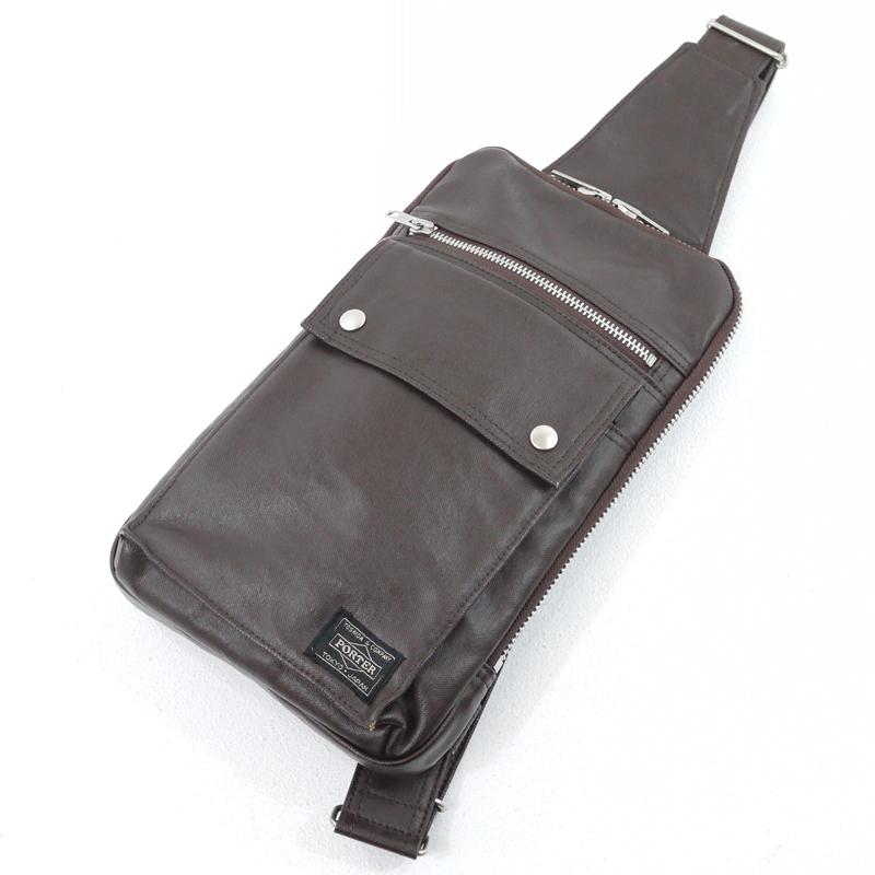 【中古】PORTER/ポーター 吉田カバン FREE STYLE フリースタイル SLING SHOULDER BAG ワンショルダーバッグ カラー:ブラウン【f121】