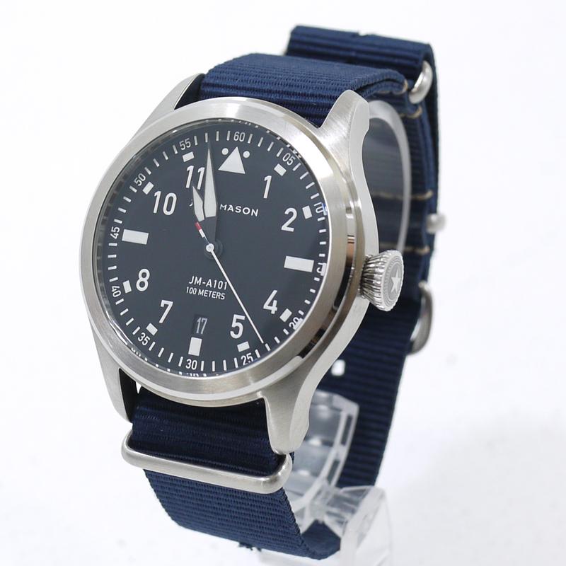 【中古】JACK MASON/ジャックメイソン AVIATION/アヴィエーション 腕時計 アナログクォーツ JM-A101-008 サイズ:- カラー:文字盤:ブラックベルト:ネイビー【f131】