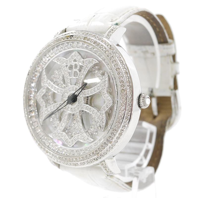 【中古】BRILLAMICO/ブリラミコ LILY 46MM スワロフスキー 腕時計 カラー:ホワイト・シルバー【f131】