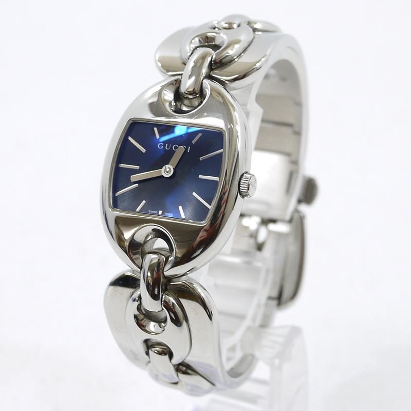 【中古】GUCCI/グッチ マリーナチェーン 腕時計 アナログクォーツ 12.15 サイズ:- カラー:文字盤:ネイビー系 ベルト:シルバー【f131】