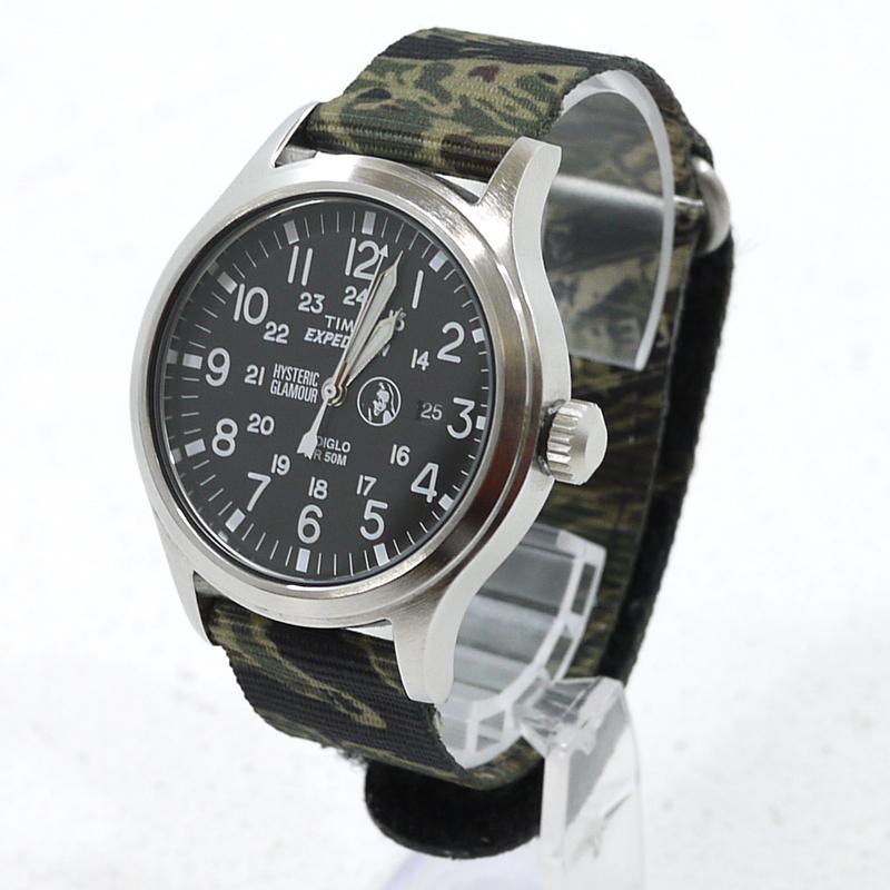 【中古】TIMEX×HYSTERIC CAMPER/タイメックス×ヒステリックグラマー 腕時計 アナログクォーツ TWLA48100 サイズ:- カラー:文字盤:ブラック ベルト:カモ柄【f131】