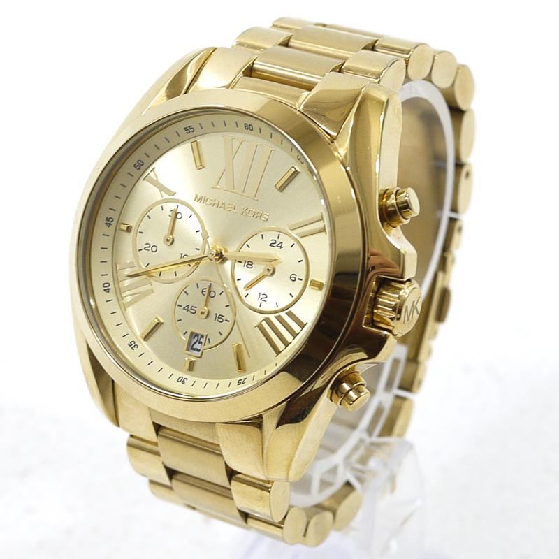 【中古】MICHAEL KORS/マイケル コース ブラッドショー 腕時計 アナログクォーツ MK5605 サイズ:- カラー:文字盤:ゴールド ベルト:ゴールド【f131】