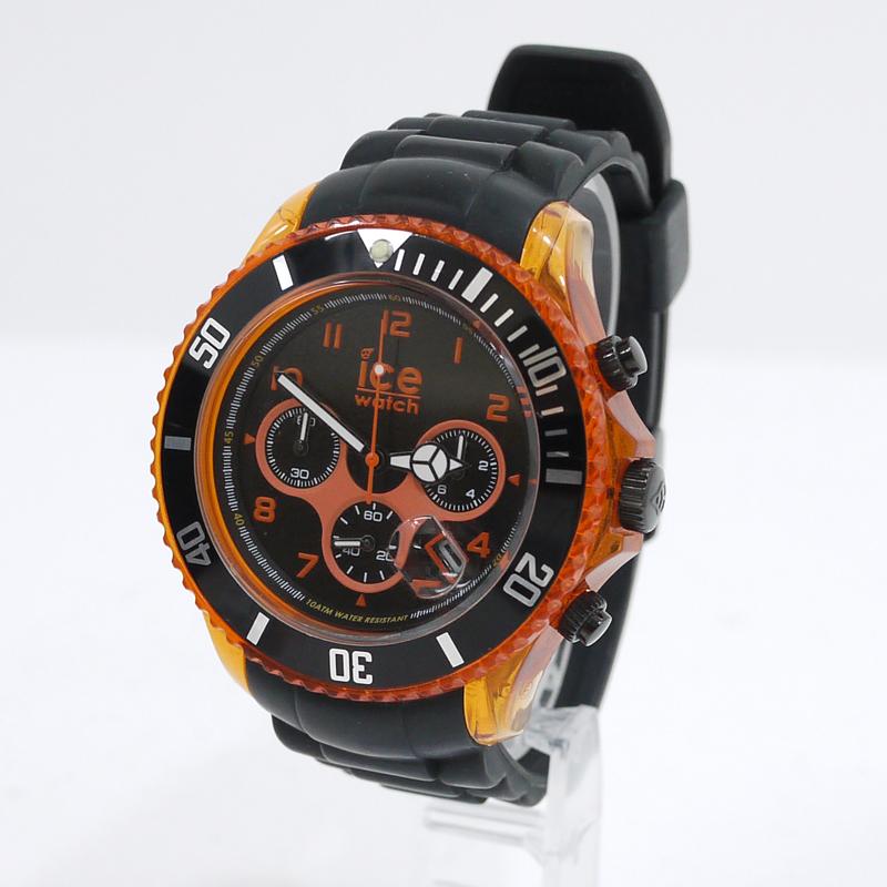 【中古】ICE WATCH/アイスウォッチ 腕時計 Ice Chrono Electrik/アイスクロノ エレクトリック CH.KOE.BB.S.12 クォーツ サイズ:- カラー:ブラック×オレンジ【f131】