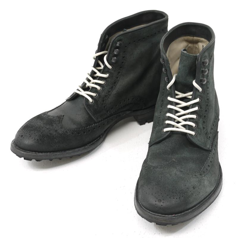【中古】OFFICINE CREATIVE/オフィチーネクリエイティブ ウイングチップ レースアップ ブーツ 7115101 サイズ:41 カラー:ブラック【f127】