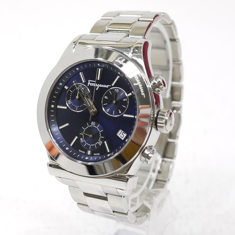 【中古】Salvatore Ferragamo/サルヴァトーレフェラガモ クロノグラフ 腕時計 アナログクォーツ FH6020016 サイズ:- カラー:文字盤:ネイビーベルト:シルバー【f131】