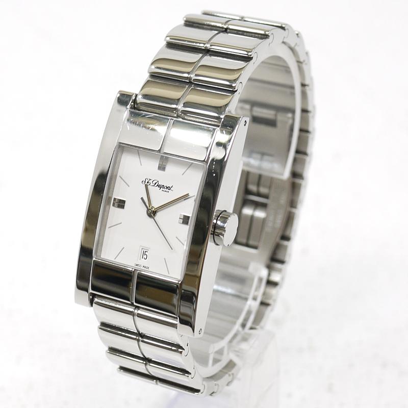 【中古】S.T. Dupont/エス・テー・デュポン 腕時計 アナログクォーツ 64131 サイズ:- カラー:文字盤:ホワイトベルト:シルバー【f131】