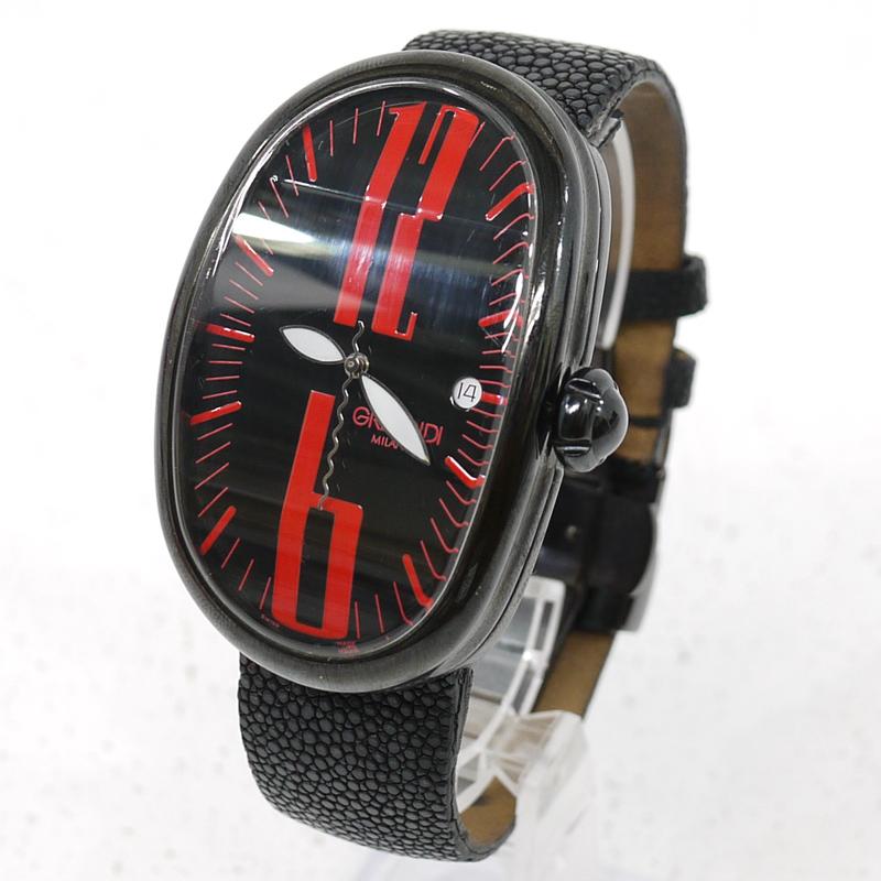 【中古】GRIMOLDI/グリモルディ BLACK JACK/ブラックジャック 腕時計 アナログ自動巻き ベルト社外品 サイズ:- カラー:文字盤:ブラックベルト:ブラック【f131】