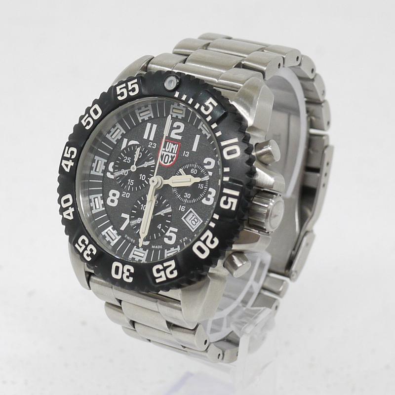 【中古】LUMINOX/ルミノックス 腕時計 NAVY SEAL STEEL COLORMARK CHRONOGRAPH 3180 SERIES クォーツ サイズ:- カラー:ブラック×シルバー【f131】