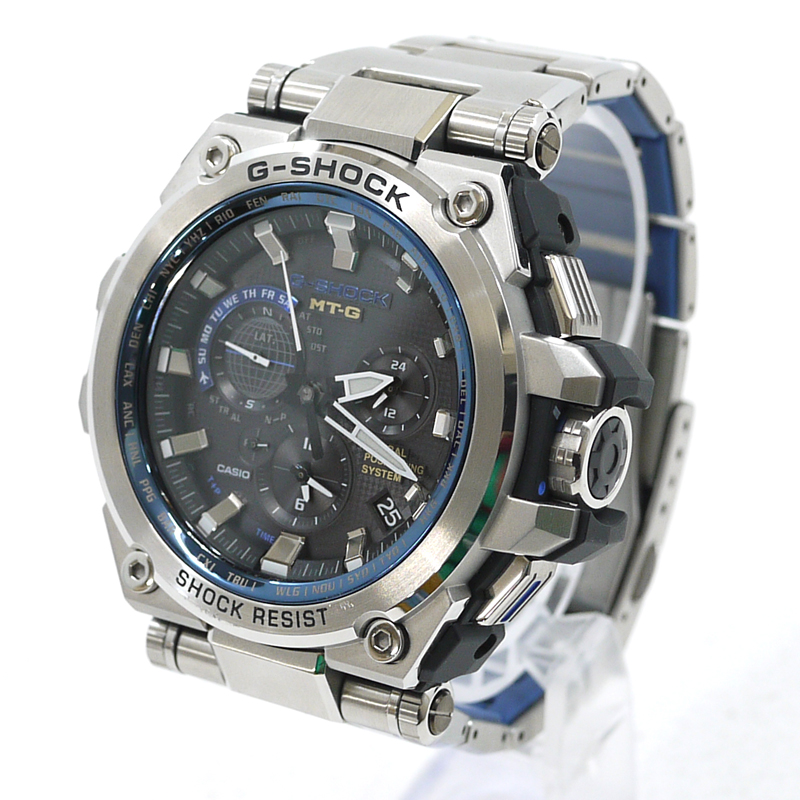 【中古】CASIO/カシオ G-SHOCK 腕時計 アナログソーラー GPSハイブリッド  MTG-G1000D-1A2JF サイズ:- カラー:文字盤:ブラック ベルト:シルバー【f131】