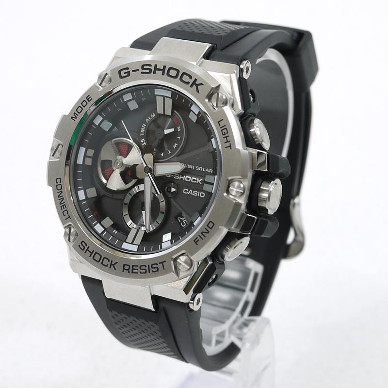 【中古】CASIO/カシオ G-SHOCK G-STEEL 腕時計 アナログソーラー Bluetooth®搭載タフネスクロノグラフ  GST-B100 サイズ:- カラー:文字盤:ブラック ベルト:ブラック【f131】