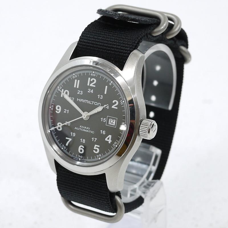 【中古】HAMILTON/ハミルトン カーキ フィールド 腕時計 アナログ自動巻き ベルト社外品 H705450 サイズ:- カラー:文字盤:ブラックベルト:ブラック【f131】