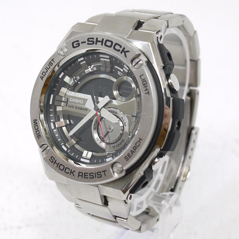 【中古】CASIO/カシオ G-SHOCK G-STEEL 腕時計 アナデジクォーツ GST-210D サイズ:- カラー:文字盤:ブラックベルト:シルバー【f131】