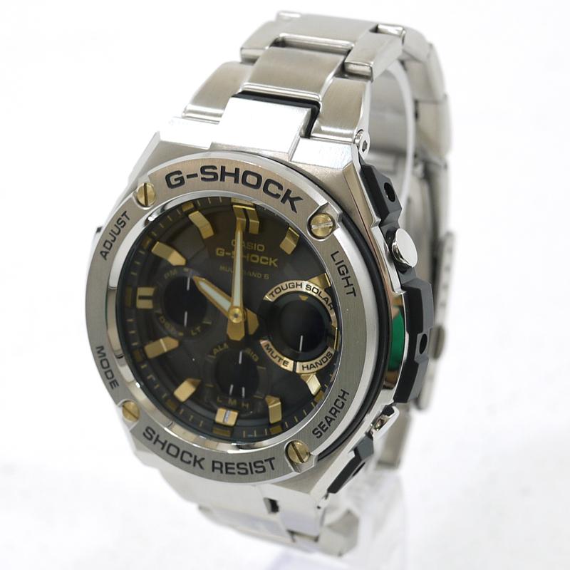 【中古】CASIO/カシオ G-SHOCK G-STEEL 腕時計 アナデジソーラー GST-W110D サイズ:- カラー:文字盤:ブラックベルト:シルバー【f131】