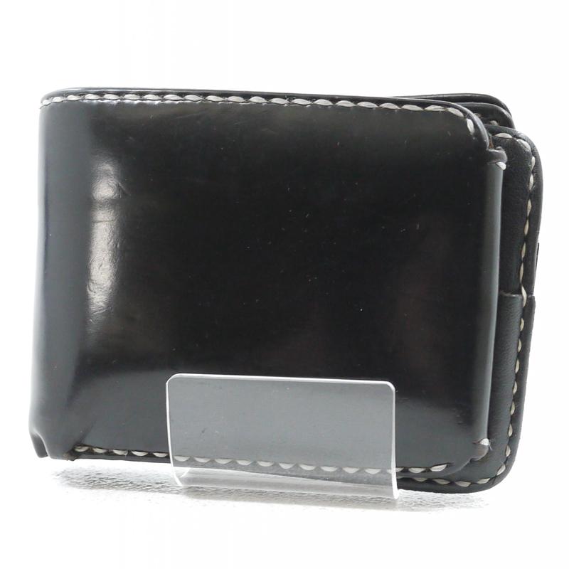 【中古】IRON HEART/アイアンハート コードバン ショートウォレット レザー財布 カラー:ブラック【f124】