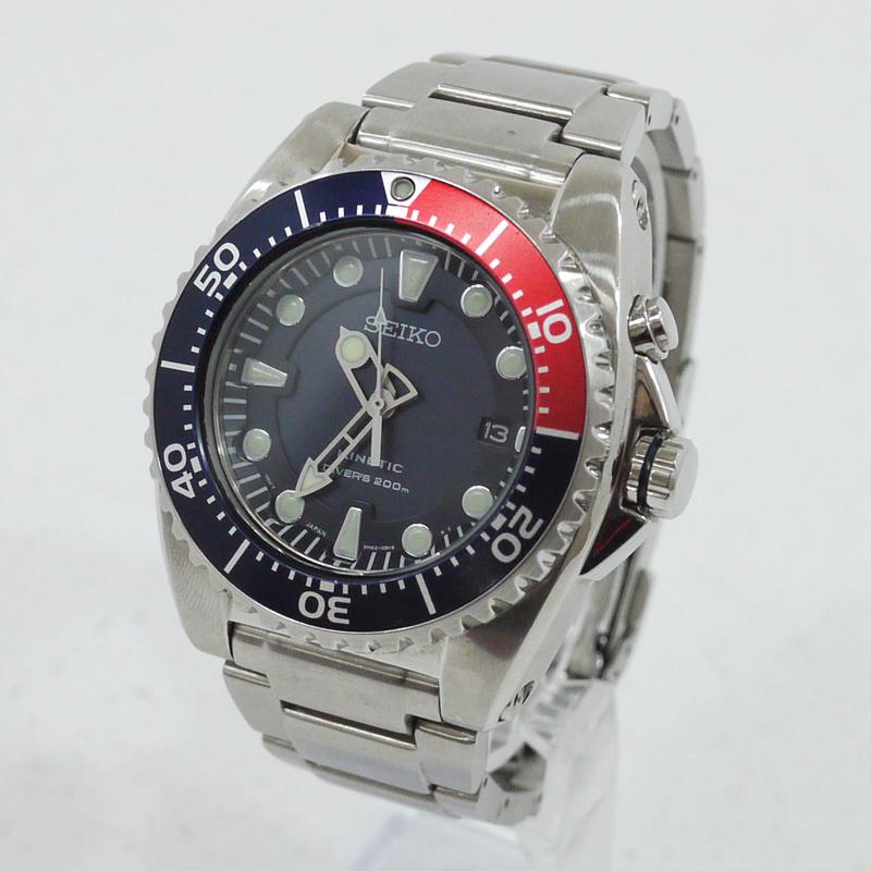 【中古】SEIKO/セイコー 腕時計 KINETIC DIVER 200m 5M62-0BL0 サイズ:- カラー:シルバー×ネイビー【f131】