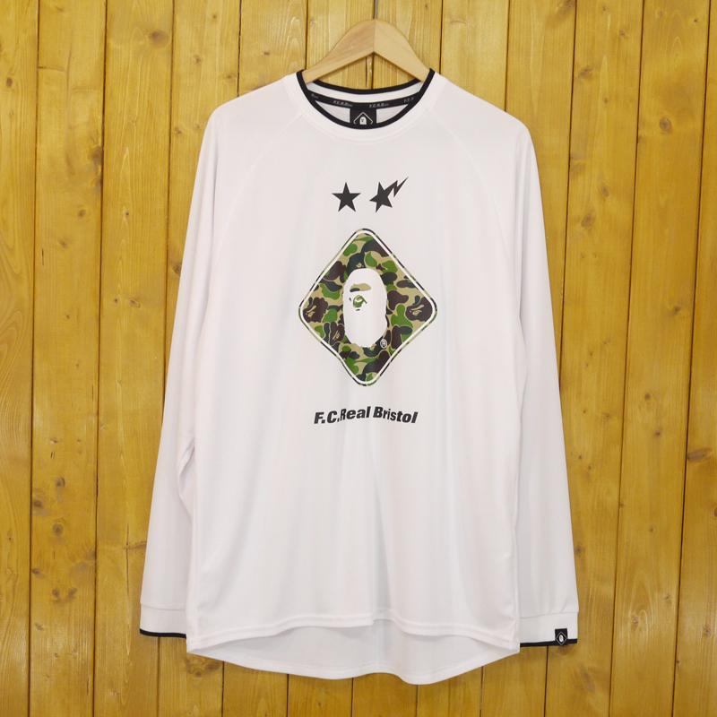 【中古】A BATHING APE×F.C.R.B./F.C.Real Bristol./アベイシングエイプ×エフシーレアルブリストル BAPE X FCRB L/S EMBLEM TEE 長袖Tシャツ サイズ:L カラー:ホワイト【f103】