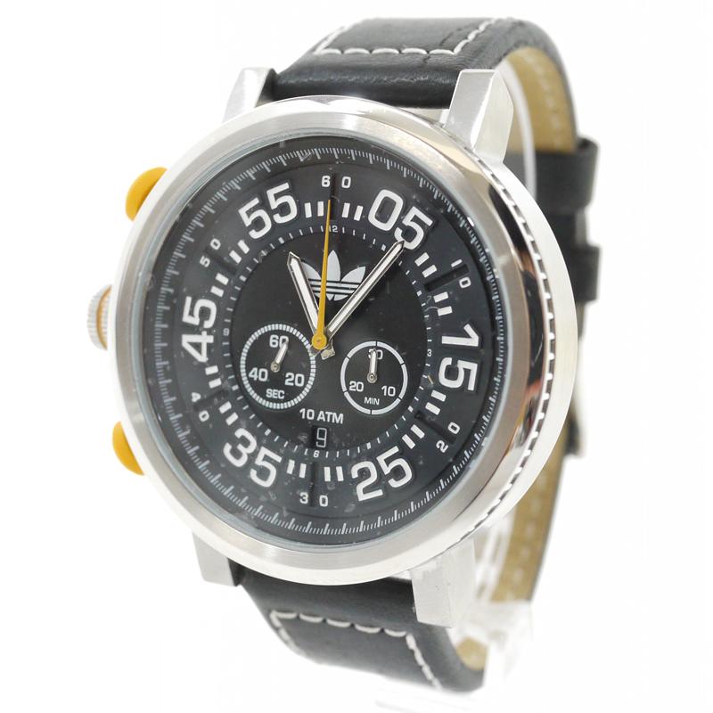 【中古】Adidas/アディダス 腕時計 INDIANAPOLIS インディアナポリス ADH3024 クォーツ 革(レザー)ベルト カラー:ブラック【f131】