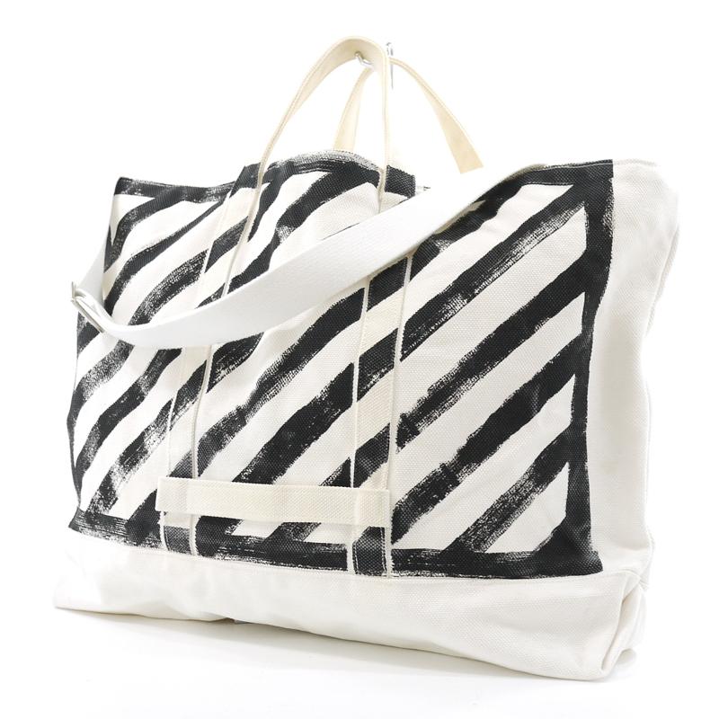 【中古】Off-White/オフホワイト キャンバス2Wayバッグ トート ショルダー カラー:ホワイト【f121】