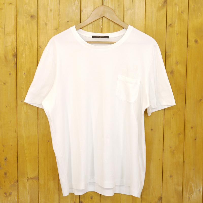 【中古】LOUIS VUITTON/ルイヴィトン モノグラムプリントポケットTシャツ サイズ:L カラー:ホワイト【f108】