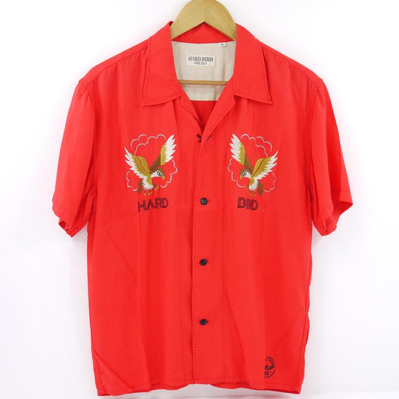 【中古】THE FLAT HEAD/フラットヘッド HARD BIRD SOUVENIR SHIRT 半袖刺繍シャツ サイズ:40 カラー:レッド【f101】
