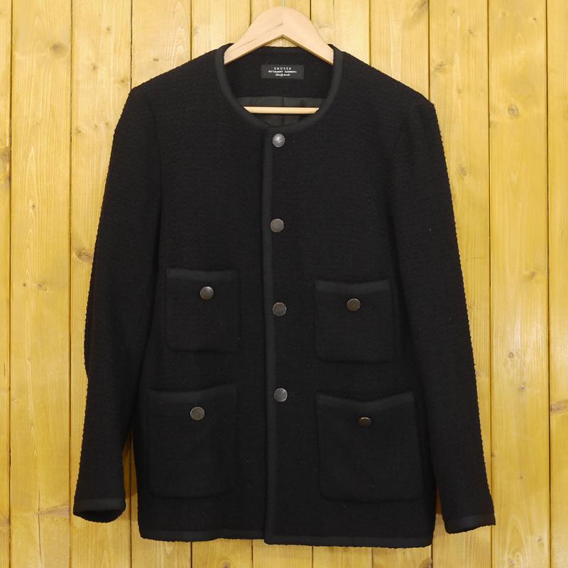 【中古】UNUSED/アンユーズド ノーカラー ウールジャケット US0706 サイズ:2 カラー:ブラック【f096】
