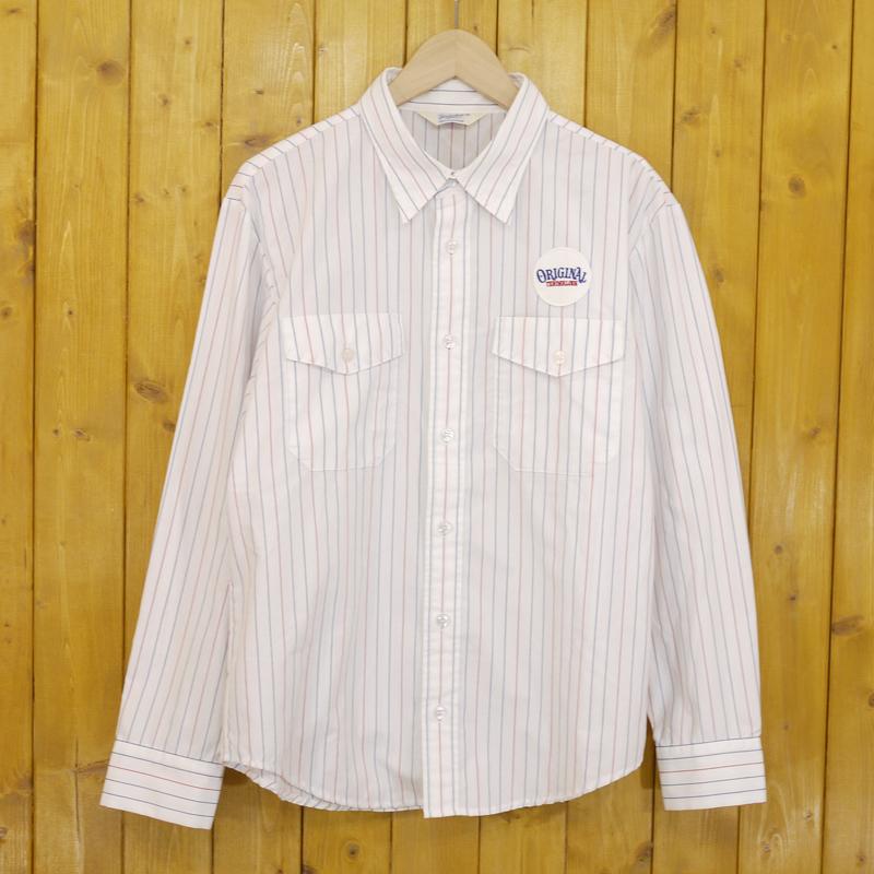 中古 TENDERLOIN テンダーロイン ワッペン付き ストライプ柄 ワークシャツ 長袖シャツ gwpu f104 人気 サイズ:S 絶品 カラー:ホワイトなど