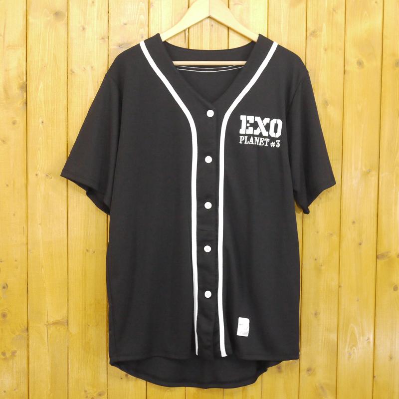 【中古】EXO/エクソ ベースボールシャツ KAI サイズ:L カラー:ブラック【タレントグッズ】