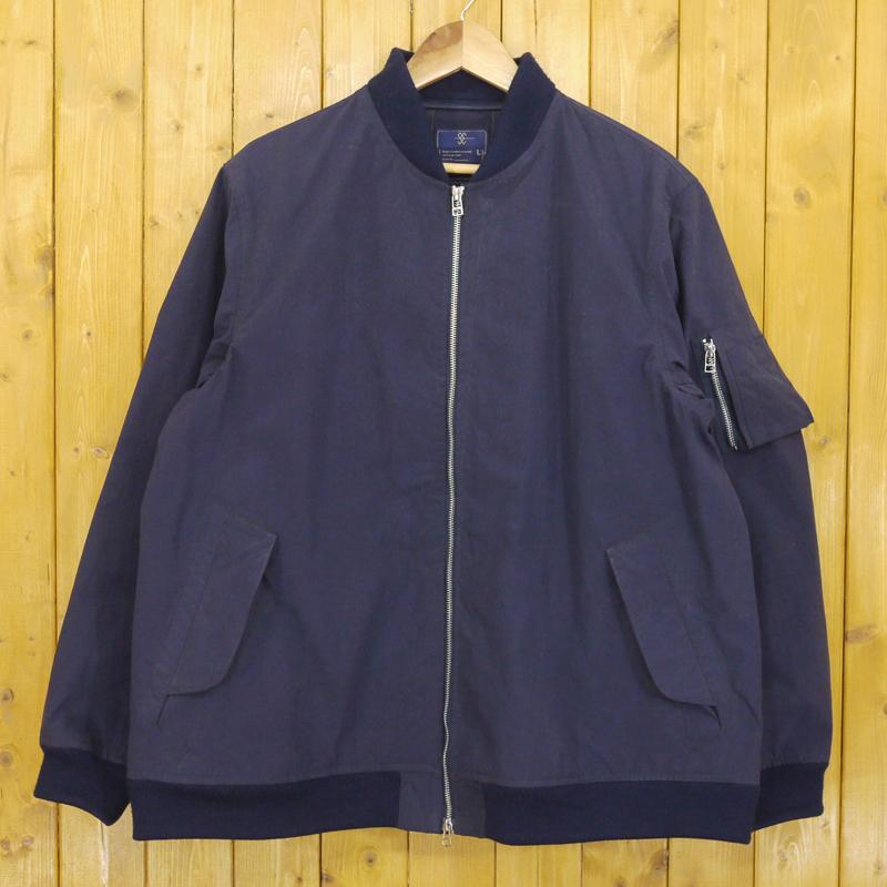 【中古】meanswhile/ミーンズワイル KONBU Nylon MA-1 ブルゾン ジャケット サイズ:L カラー:ネイビー【f096】